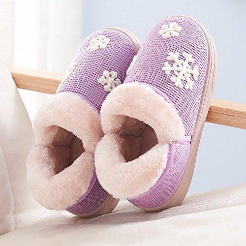 Y-Hui caldo inverno nella femmina scarpe Casa Arredamento Pantofole spessa di slittamento caldo cotone pantofole gli amanti del maschio,40-41 (Fit per 39-40 piedi),viola
