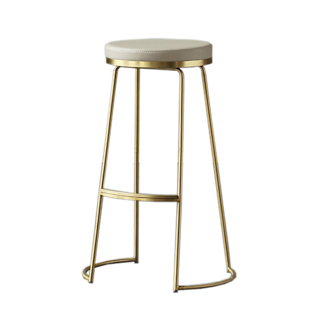 45cm FFLSDR Iron, Bar Stool, Bar Stool, High Stool, Simple Creative Coffee Chair, Front Desk Chair, Home Stool, Dining Chair, (45cm   65cm   75cm   gold) (Size   45cm)