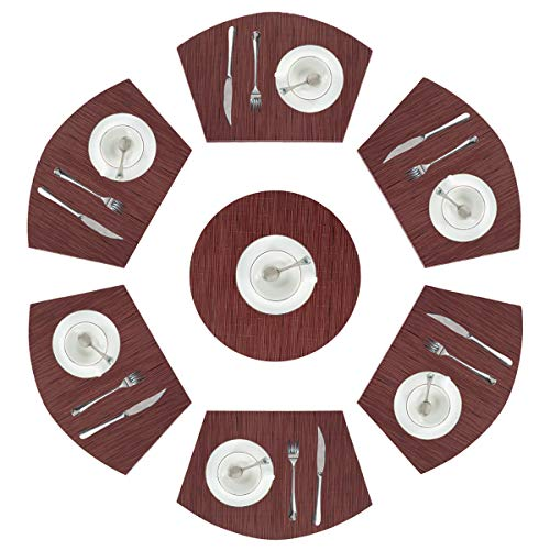 PAUWER Wedge Placemats Set of 6 with Centerpiece for Round Tables Heat Insulation Woven Vinyl PVC Round Table Placemats Wipe Clean