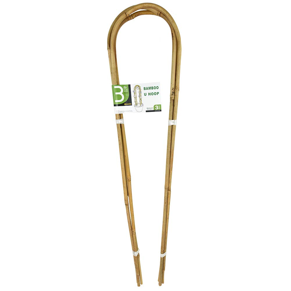 Mininfa 3 Feet Natural U-Hoops Bamboo, Garden Trellis, Bamboo Trellis U-Shape for Plant Support - 3 Pack