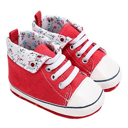 Hunpta Baby Schuhe junge Mädchen newborn Krippe Soft Sole Schuh Sneakers Rot