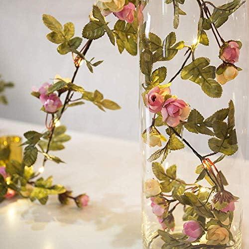 Lichterketten 5 M Künstliche Rose Blumen Blätter Reben string Leuchtet Hängen Kupfer Draht girlande für Weihnachten Hochzeit