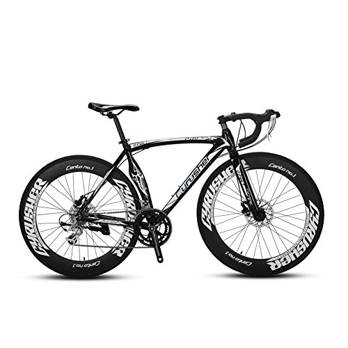 Super Road Racing Bike 700Cx54cm Aluminium Frame Sturdy And Light Tourney ST Shifting System 14 Speeds Adjustable Disc Brakes Butterfly Handle Import Main Component XC700 Cyrusher Extrbici (black) Extrbici