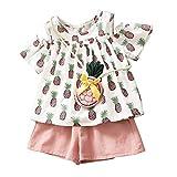 2-7T Girls Short Sleeve Off Shoulder Tops+Shorts+Mini Crossbody Bag Clothing Set (2-3T, Pink)