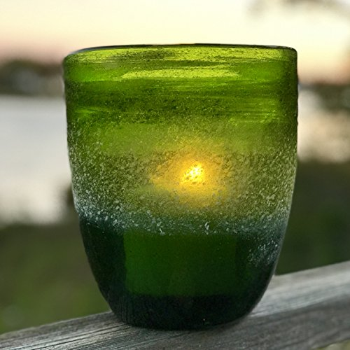 The Naturally Modern Green Windlight Hurricane Candle Holders, Set of 2, Hand Blown Artisinal Glass, 7 and 4 ¾ Inches Tall, By Whole House (Green Glass Hurricane)