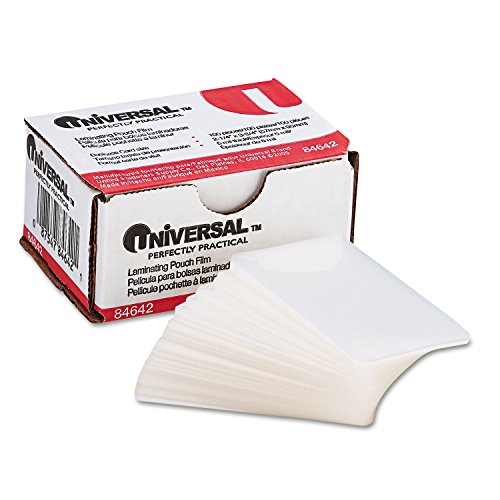 : Universal Office Products Clear Laminating Pouches, 5 mil, 2 1/4 X 3 3/4, Business Card Size, 100/Box 84642