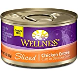 Wellness Grain Free Sliced Chicken Natural Wet Canned Cat Food, 3-Ounce Can (Pack of 24)