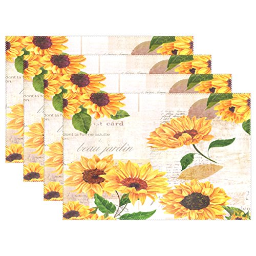 QQMARKET Heat Resistant Placemats for Kitchen Table Mats for Dinning Room,Hand Drawn Vibrant Yellow Watercolor Sunflowers Non Slip Placemat 12x18 inch Set of 6