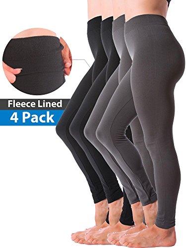 4-Pack Womens Winter Warm Fleece Lined Thick Brushed Full Length Leggings