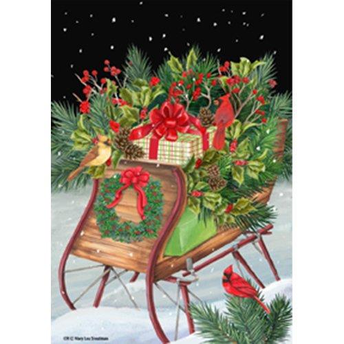 Christmas Winter Country Sleigh Cardinal Presents House Flag 28 x 40