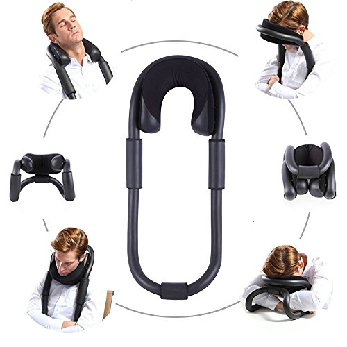UsEasy O-Shape Neck & Cervical Pillows Stabilization System: Travel Pillow Reduce Neck and Shoulder Pain & Prevent Stiff Neck-Support Cervical Spine in Car, Chair, Airline & Naps at Desk (Black) (Upright Sleep compare prices)