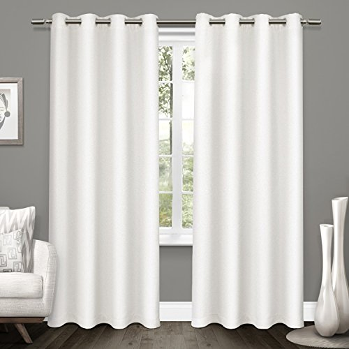 Exclusive Home Tweed Textured Linen Woven Blackout Grommet Top Window Curtain Panel Pair, Winter White, 52″x 84″
