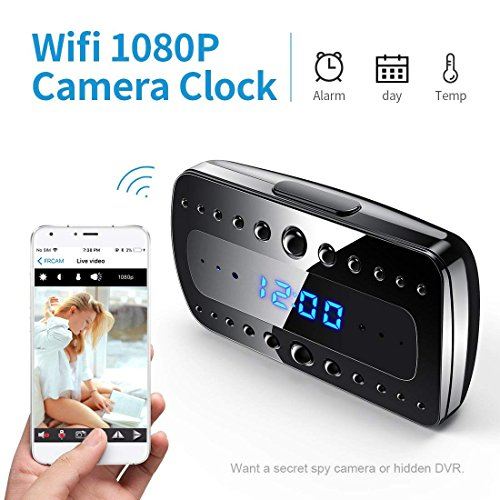 FREDI Wireless Hidden Camera Alarm Clock HD 1080P Wifi Home Surveillance Cameras Night Vision/Motion Detection/Temperature Display Video - Clock Hidden Alarm Camera