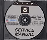 1999 DODGE RAM TRUCK & PICKUP REPAIR SHOP & SERVICE MANUAL CD Including 1500, 2500, 3500, LT, ST, SLT, Work Special, Extended Cab, Extended & Cargo Van, gasoline and diesel