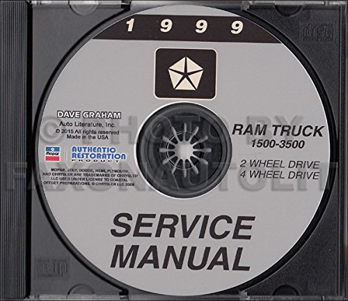 1999 DODGE RAM TRUCK & PICKUP REPAIR SHOP & SERVICE MANUAL CD Including 1500, 2500, 3500, LT, ST, SLT, Work Special, Extended Cab, Extended & Cargo Van, gasoline and diesel