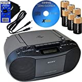 HeroFiber Sony Portable Cd Player Boombox with Am Fm Radio & Cassette Tape Player 6 Batteries Cd Maintenance Kit…