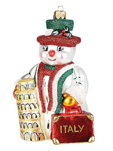 Italian Snowman Polish Blown Glass Christmas Ornament Italy Tree Decoration