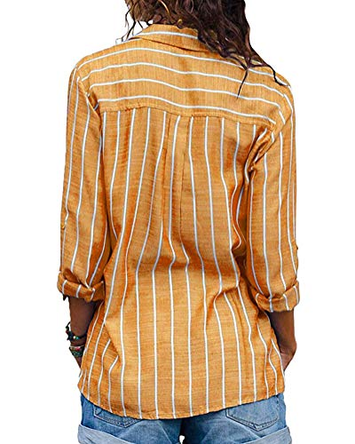 Minetom Longues Chic Mode Col Shirt Blouse Chemisier Manches B Jaune Femme Tunique Classique Chemise Printemps Tops Ray Button V Automne Up rpgBrtqw