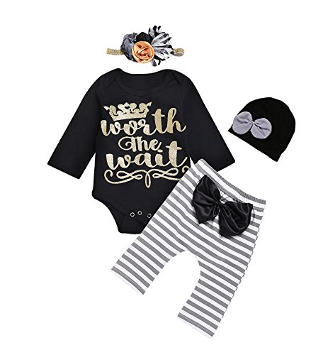 IWOKA 4Pcs Baby Thanksgiving Outfit Newborn Boy Girl Set Bodysuit Pants with Hat and (Baby Thanksgiving Outfits)