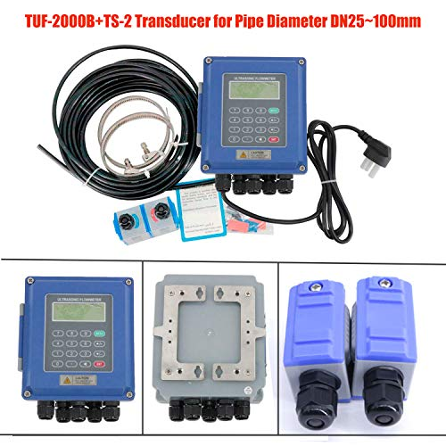 (HFBTE TUF-2000B Ultrasonic Flow Meter Flowmeter DN25~100mm TS-2 Small Size Clamp-on Transducer)