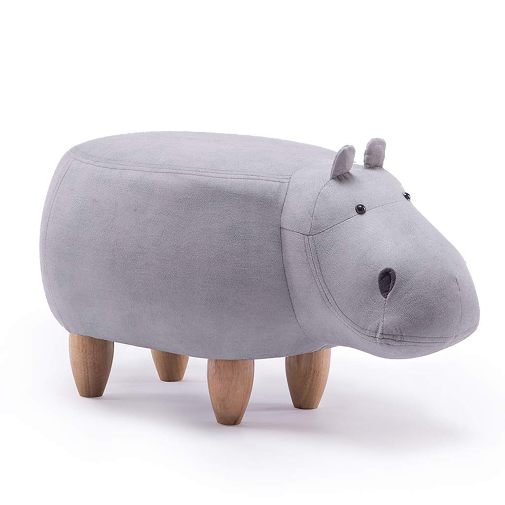 B Large GAIXIA-Sofa stool Creative Cartoon Animal Stool Solid Wood Hippo Footstool Home Sofa Bench Change shoes Bench 37x65cm (color   A, Size   XL)