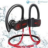 ANBES Bluetooth Headphones Wireless Earbuds, IPX7 Waterproof In-ear Earphones Sports with Ear Hooks