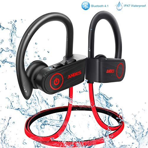 ANBES Bluetooth Headphones Wireless Earbuds, IPX7 Waterproof in-Ear Earphones Sports with Ear Hooks & Mic, HD Stereo Sound, Up to 8 Hours Playing Noise Canceling Headsets (RedBlack)