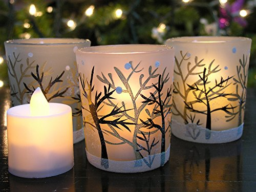 Glittery Winter Trees and Snow Set of 3 Frosted Glass Tealight Candle Holders with Three Flameless Flickering LED Candles Included - Frosted Glass Tealight