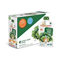 Happy Baby Organic Stage 2 Baby Food, Simple Combos, Spinach, Apples & Kale, ...