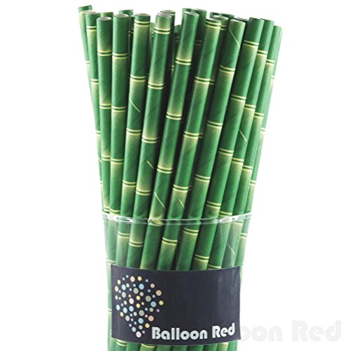 Biodegradable Paper Drinking Straws (Premium Quality), Pack of 50, Natual - Bamboo
