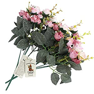 Luyue 7 Branch 21 Heads Artificial Silk Fake Flowers Leaf Rose Wedding Floral Decor Bouquet,Pack of 2 (Pink coffee) 3