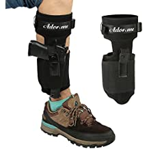 Adorime Ankle Gun Holster Holder for Concealed Carry Pistol Three Layer Non-Slip with Breathable & Adjustable Nylon Strap - Fits Glock 42, 43, 36, 26, Smith and Wesson Bodyguard .380.38, Ruger LCP