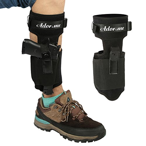 (Adorime Ankle Gun Holster Holder for Concealed Carry Pistol Three Layer Non-Slip with Breathable & Adjustable Nylon Strap - Fits Glock 42, 43, 36, 26, Smith and Wesson Bodyguard .380.38, Ruger LCP)