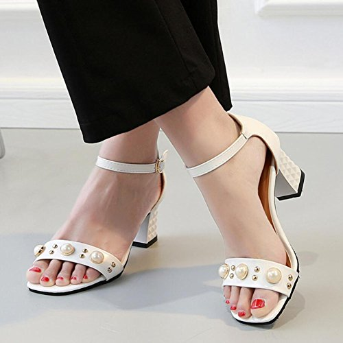 mujer de Blanco Beige Zapatos Negro de mujer elegantes de Pu de GAOLIXIA Zapatos altos Sandalias tacón Casual punta Blanco Zapatos abierta 846qSn