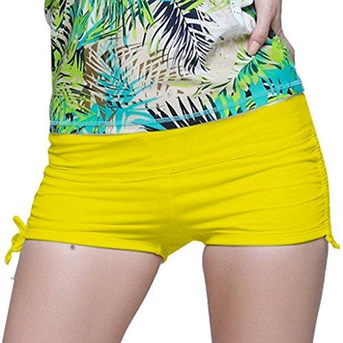 Womens Swimming Shorts Bikini Bottom Swimwear Summer Boardshorts Beach Short Yellow - Bikinis Female