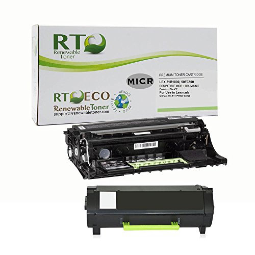 Renewable Toner 51B1000 MICR Toner Cartridge and 50F0Z00 MICR Drum Unit Package for Lexmark MS/MX 317 417 517 617 Printer Series by Renewable Toner