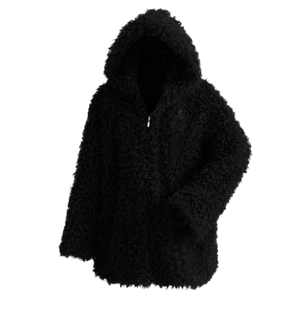 YKARITIANNA Women Warm Long Sleeve Fluffy Coat, Winter Soft Baggy Cute Thick Coat Solid Hooded Outercoat Jacket Cardigan Coat