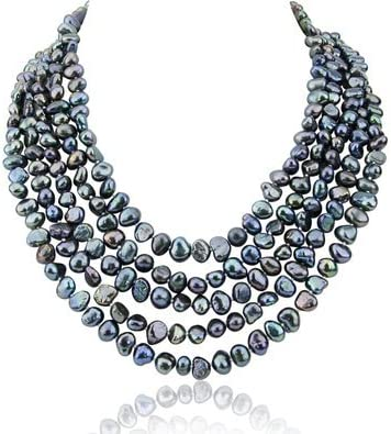 Grey Akwaya 16-22 inch 7-8mm 5 Row Baroque Freshwater Cultured Pearl Necklace with Mother-of-Pearl-Base-Metal Clasp 5 Row Baroque Freshwater Cultured Pearl Necklace Mother of Pearl Metal Clasp 5-5ROW-BAROQUE