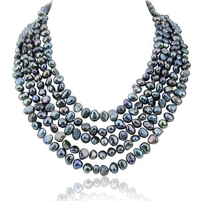 5 row High Luster Black Freshwater Cultured Pearl necklace with mother of pearl base metal clasp (Freshwater Mother Of Pearl Necklace)