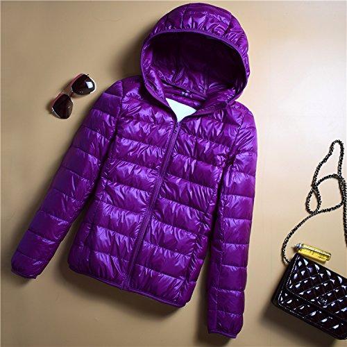 Slim Down Xuanku Paragraph Hood Portable Thin B Collar Jacket Section Ladies Short Collar Jacket Purple ZvSvfqwx