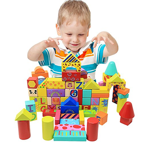NEOWOWS 121 Pieces Wooden Building Blocks Shape Sort Alphabet Number Stacking Games Wood Blocks Construction Toys Includes 41 Pieces Dominoes with Carrying Bag Educational Toys for Kids