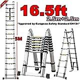 Popamazing Double Safe & Quality Folding Telescopic Ladder (5M(16ft4))