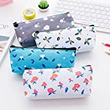 Small Flowers Canvas Large Capacity Pencil Bag Stationery Storage Organizer Case School Supply