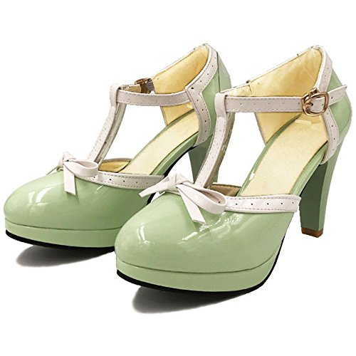 Sandals Green T Wedding Fashion Women High Strap Summer Pumps Heel Bowtie TAOFFEN Pq7vwEnH1x