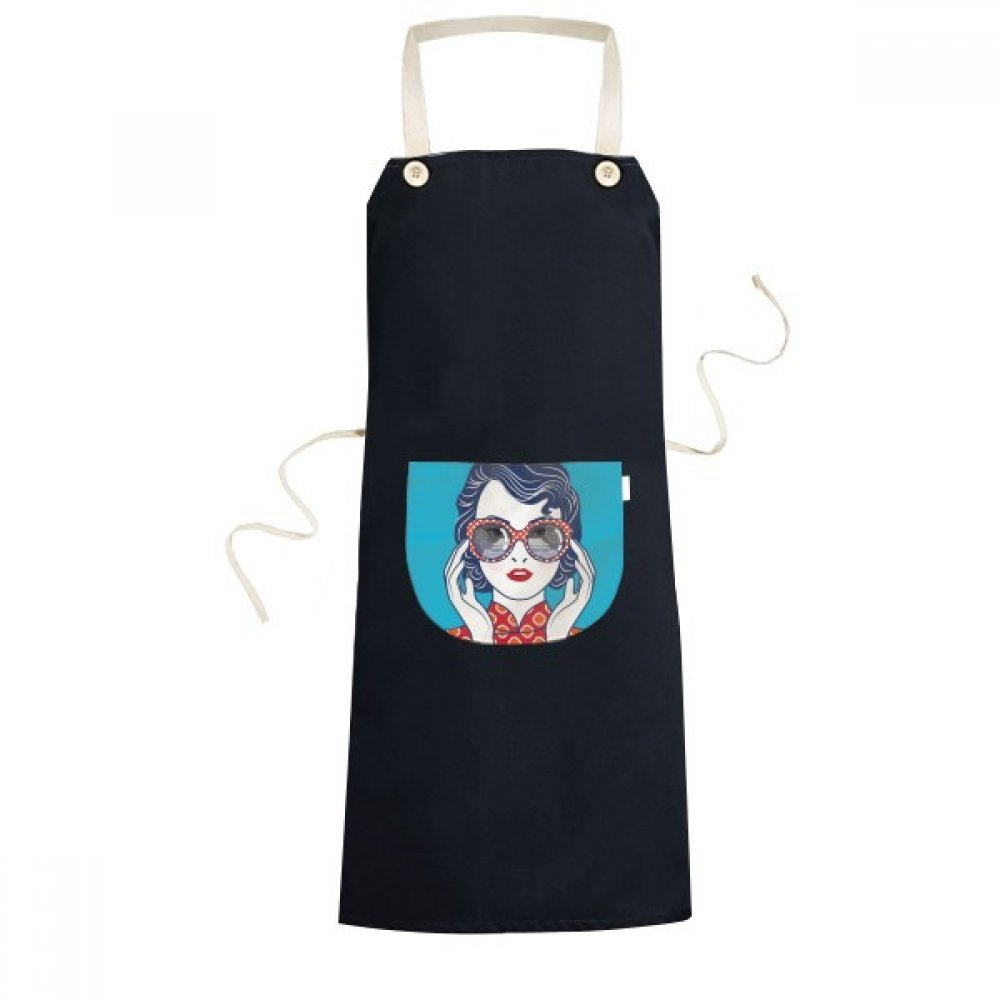 DIYthinker Chinese Culture Blue Woman Glasses Cooking Kitchen Black Bib Aprons With Pocket for Women Men Chef Gifts