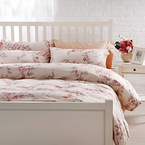 Garden Chinoiserie Floral Duvet Quilt Cover Asian Porcelain Style Tree Blossom and Birds Blue and White Watercolor Pattern 300tc Cotton Percale 3pc Bedding Set (King, Cream Red) (Red And Cream Duvet Cover)