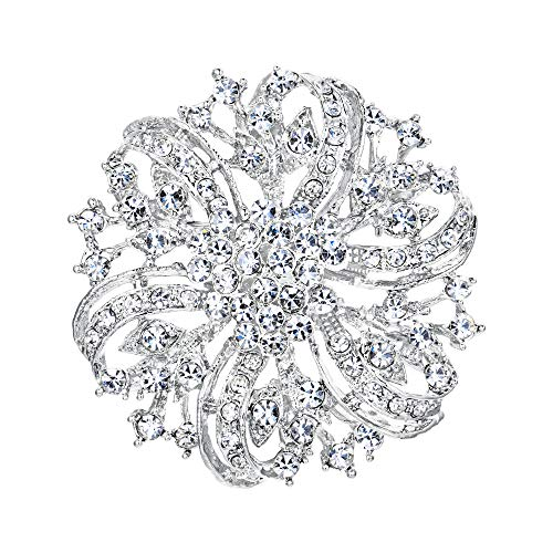EVER FAITH Austrian Crystal Vintage Inspired Bridal Flower Brooch Corsage Clear Silver-Tone