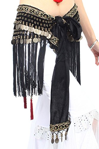 - ZLTdream Women's Belly Dance Tribal Hip Scarf with Fringe Coins Flannel Black, One Size