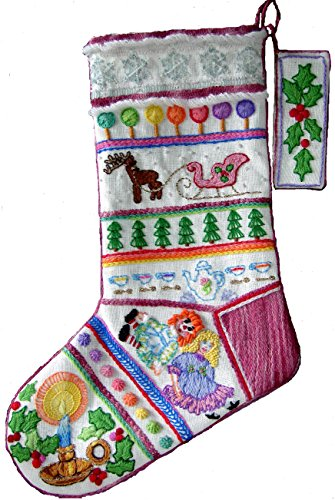 Stocking Embroidery Design ('Tea Party' Crewel Christmas Stocking)