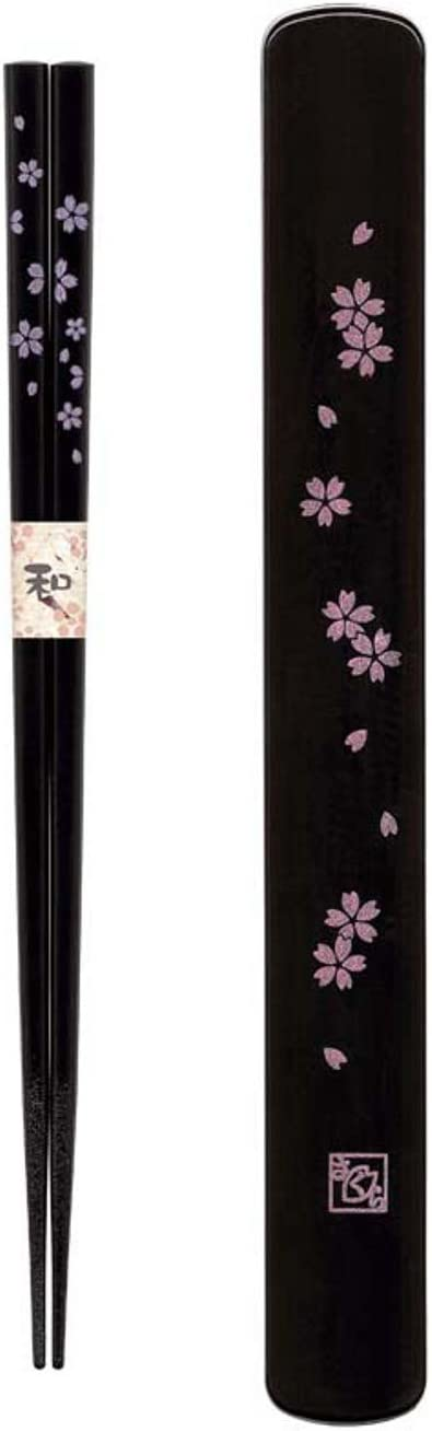 Happy Sales HSKS7/B, Travel Chopstick with Case, Black Pink Sakura Cherry Blossom